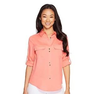Ivanka Trump Coral Red Gold Button Front Blouse
